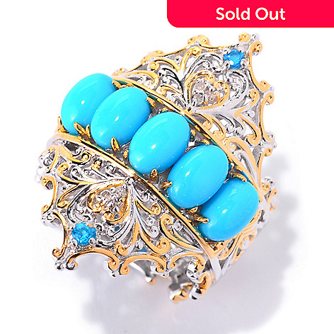 140-690 - Gems en Vogue Sleeping Beauty Turquoise, Neon Apatite & Diamond Ring