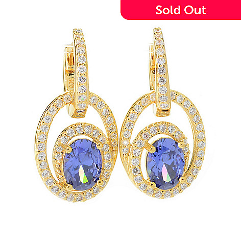 140-691 - Brilliante® 1'' Simulated Gem & Simulated Diamond Oval Drop Earrings