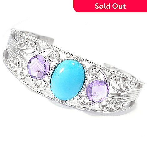 140-773 - Gem Insider™ Sterling Silver Sleeping Beauty Turquoise & Gem Cuff Bracelet