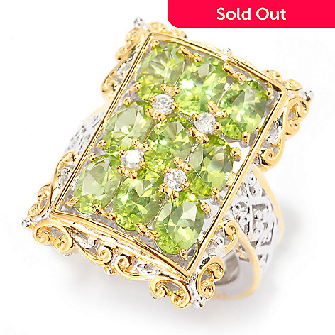 140-823 - Gems en Vogue 4.07ctw Oval Arizona Peridot & White Zircon Nine-Stone Ring