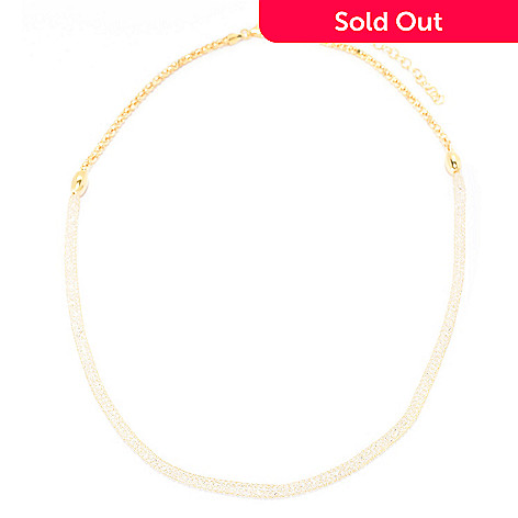 140-915 - Brilliante® 18K Gold Embraced™ Simulated Diamond Mesh Necklace w/ 3'' Extender
