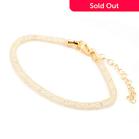 140-916 - Brilliante® 18K Gold Embraced™ 7.5'' Simulated Diamond Mesh Bracelet