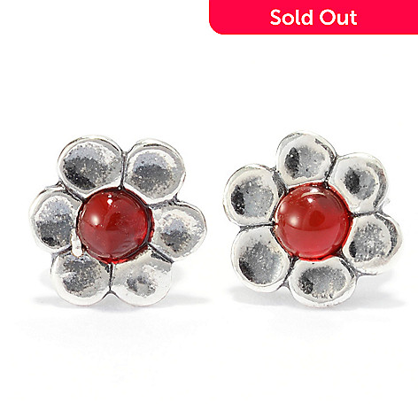 141-027 - Passage to Israel™ Sterling Silver Gemstone Oxidized Flower Stud Earrings