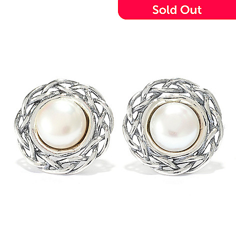 141-029 - Passage to Israel™ Sterling Silver 7mm Freshwater Cultured Pearl Stud Earrings
