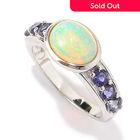 141-132 - Gem Treasures® Sterling Silver 9 x 7mm Oval Ethiopian Opal & Iolite Ring