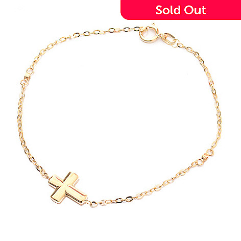 141-177 - Viale18K® Italian Gold Simulated Diamond Sideways Cross Bracelet