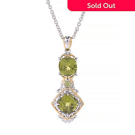 141-378 - Gems en Vogue 4.23ctw Round & Cushion Shaped Peridot Pendant w/ 18'' Chain