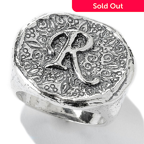 141-478 - Passage to Israel™ Sterling Silver Hammered Initial Signet Band Ring