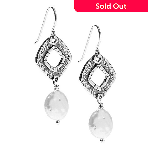 141-482 - Passage to Israel™ Sterling Silver 1.75'' 10-11mm Freshwater Cultured Pearl Dangle Earrings