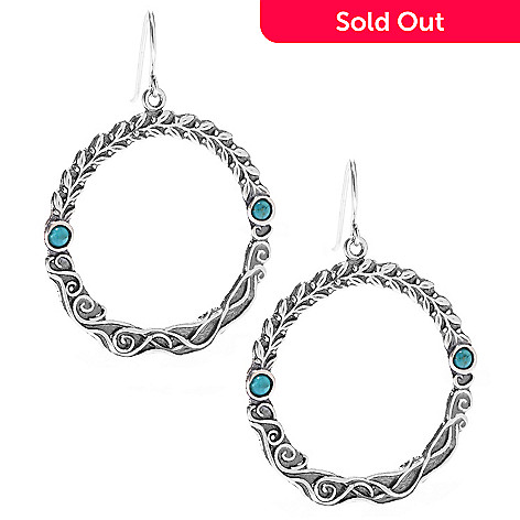 141-483 - Passage to Israel™ Sterling Silver 2'' Turquoise Textured Circle Drop Earrings