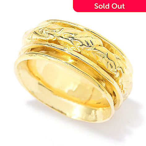 141-517 - Yam Zahav™ 18K Gold Embraced™ Textured & Polished Leaf Spinner Band Ring