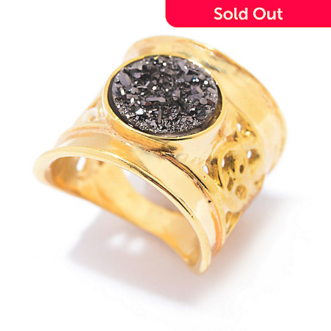 141-521 - Yam Zahav™ 18K Gold Embraced™ 10mm Round Platinum Drusy Wide Band Ring