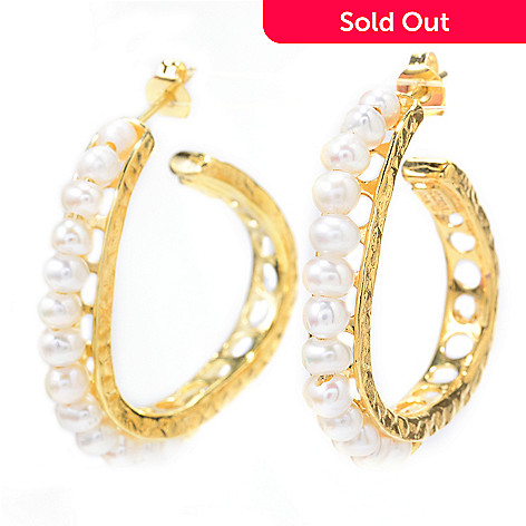 141-542 - Yam Zahav™ 18K Gold Embraced™ 1.25'' Freshwater Cultured Pearl Hoop Earrings