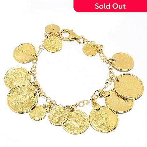 141-546 - Yam Zahav™ 18K Gold Embraced™ 8'' Textured Coin-Inspired Charm Bracelet
