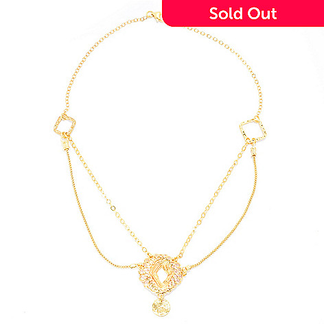 141-549 - Yam Zahav™ 18K Gold Embraced™ 18'' Double Row Textured & Cut-Out Drop Necklace