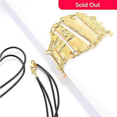 141-552 - Yam Zahav™ 18K Gold Embraced™ 7.5'' Textured Link Bracelet w/ 26'' Leather Cord