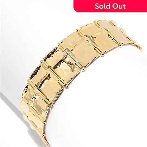 141-557 - Yam Zahav™ 18K Gold Embraced™ 7'' Concave Rectangular Link Bracelet