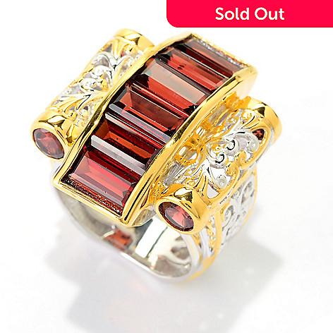 141-590 - Gems en Vogue 4.34ctw Round & Baguette Mozambique Garnet Scrollwork Ring