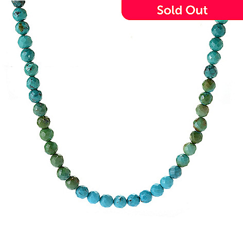 141-690 - Gem Insider® Sterling Silver 18'' Multi Color Turquoise Bead Necklace
