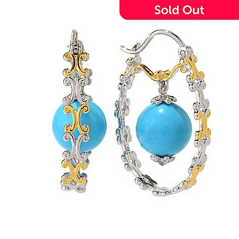 141-706 - Gems en Vogue 1'' 10mm Sleeping Beauty Turquoise Bead Hoop Earrings