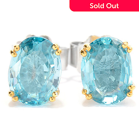 141-707 - Gems en Vogue 3.64ctw Brilliant Cut Oval Blue Zircon Stud Earrings