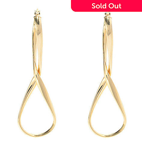 141-717 - 14K Gold 2'' Polished & Twisted Drop Earrings