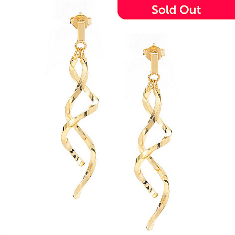 141-718 - 14K Gold 2'' Polished Double Spiral Drop Earrings