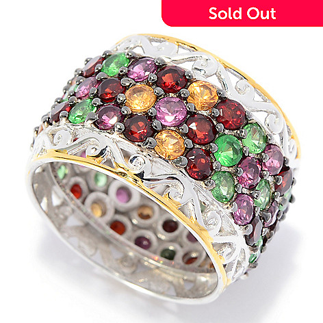 141-735 - Gems en Vogue 5.04ctw Round Multi Color Garnet & Tsavorite Eternity Band Ring