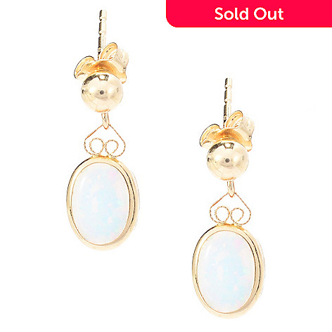 141-750 - 14K Gold 8 x 6mm Oval Simulated Opal Earrings