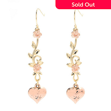 141-751 - 14K Two-tone Gold 1.75'' Flower, Leaf & Heart Dangle Earrings