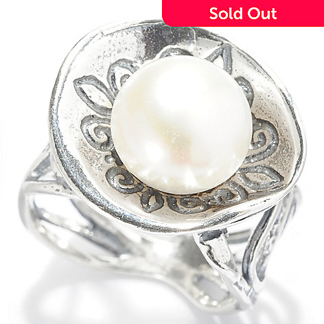 141-819 - Passage to Israel™ Sterling Silver 10mm Freshwater Cultured Pearl Cut-out Band Ring