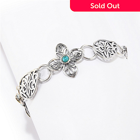 141-820 - Passage to Israel™ Sterling Silver 4mm Gemstone Cut-out Floral Link Toggle Bracelet