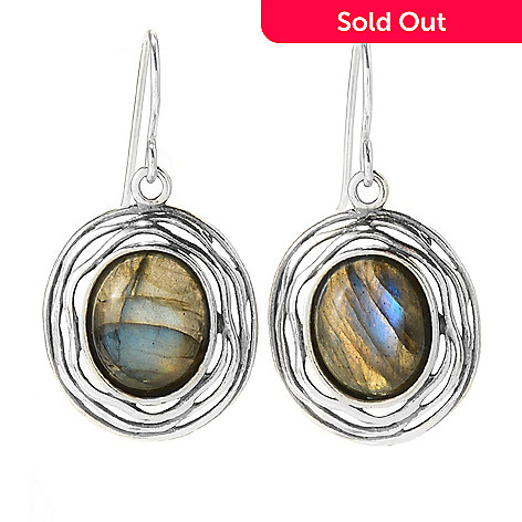 141-822 - Passage to Israel™ Sterling Silver 1.25'' 12 x 10mm Oval Labradorite Drop Earrings