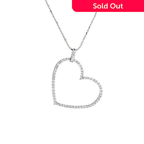 141-876 - Beverly Hills Elegance® Sterling Silver 1.35ctw White Sapphire Heart Pendant