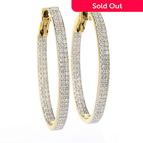 141-878 - Beverly Hills Elegance® 14K Gold 1.25'' 0.80ctw Diamond Inside-Out Oval Hoop Earrings