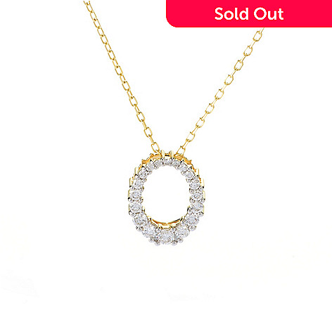 141-879 - Beverly Hills Elegance® 14K Gold 0.50ctw Diamond Graduated Oval Pendant w/ Chain