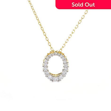141-879 - Beverly Hills Elegance® 14K Gold 0.50ctw Diamond Graduated Oval Pendant w/ Chain