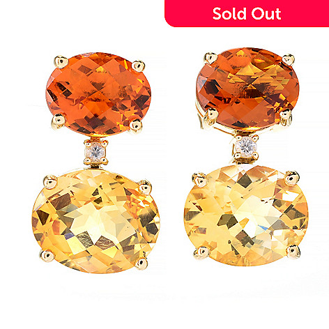 141-880 - Beverly Hills Elegance® 14K Gold 11.88ctw Quartz, Citrine & White Sapphire Drop Earrings