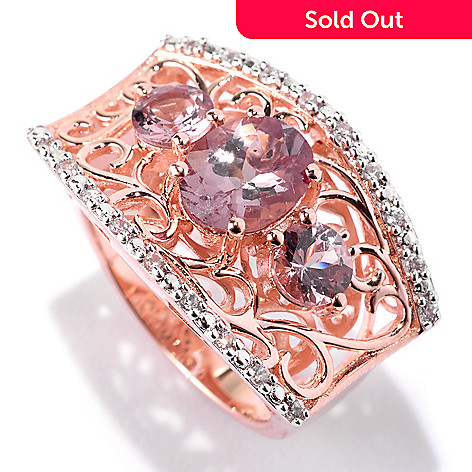 141-942 - NYC II® 3.47ctw Color Shift Garnet & White Zircon Scrollwork Ring