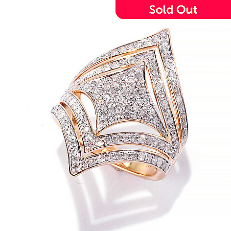 141-952 - Beverly Hills Elegance® 14K Gold 1.21ctw Diamond Square & Chevron North-South Ring