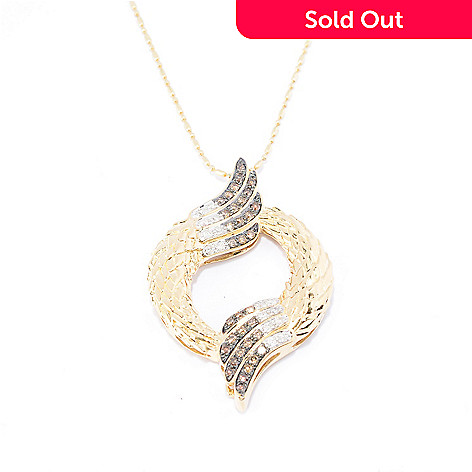 141-954 - Beverly Hills Elegance® 14K Gold 0.50ctw Diamond Winged Circle Pendant w/ Chain