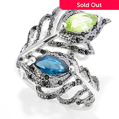 142-033 - NYC II® 1.23ctw Peridot, London Blue Topaz & Black Spinel Bypass Ring