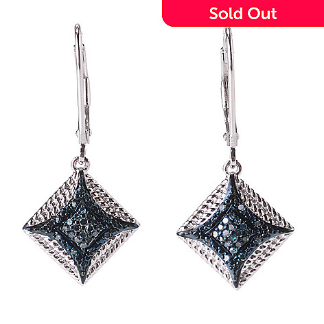 142-186 - Diamond Treasures® Sterling Silver 1.25'' 0.20ctw Fancy Diamond Square Earrings