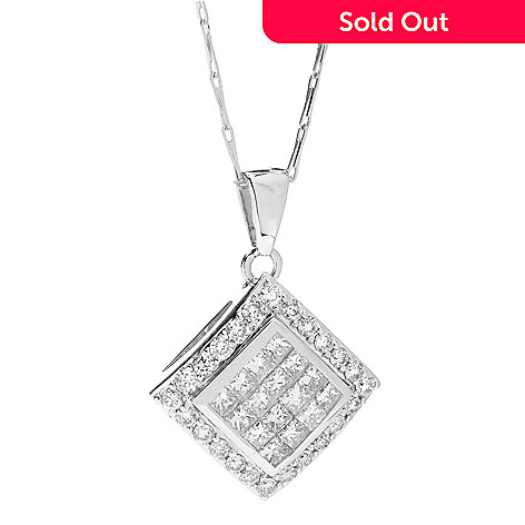 142-257 - Beverly Hills Elegance® 14K White Gold 1.00ctw Diamond Angled Square Pendant w/ Chain