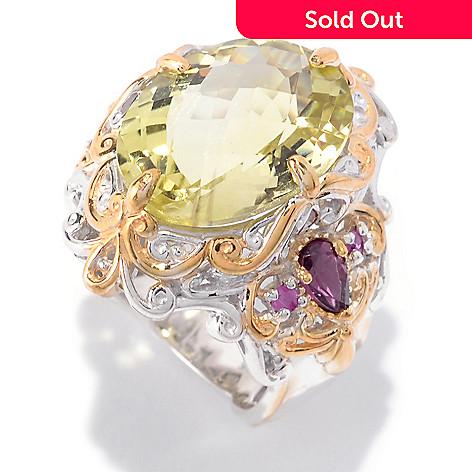 142-313 - Gems en Vogue 8.95ctw Oval Ouro Verde, Rhodolite & Pink Sapphire Ring
