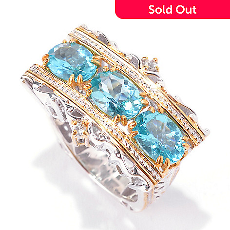 142-314 - Gems en Vogue 3.88ctw Oval Blue Apatite & White Zircon Scrollwork Ring