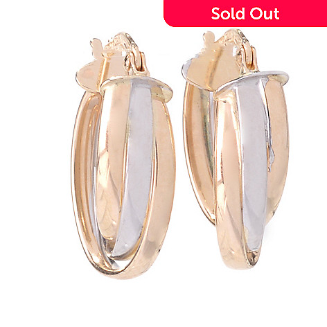 142-520 - 14K Two-tone Gold Three-Row Twisted Huggie Hoop Earrings