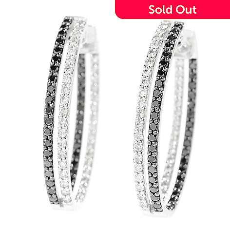 142-701 - Beverly Hills Elegance® 14K White Gold 2.00ctw Black & White Diamond Oval Hoop Earrings