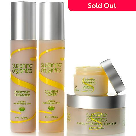 300-476 - Suzanne Somers Organics Four-Piece Cleanse, Tone & Moisturize Skincare Set