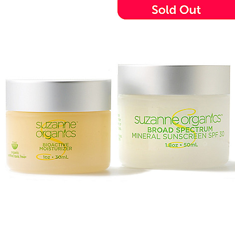 301-002 - Suzanne Somers Organics Mineral Sunscreen SPF 30 & Bio Active Moisturizer Duo
